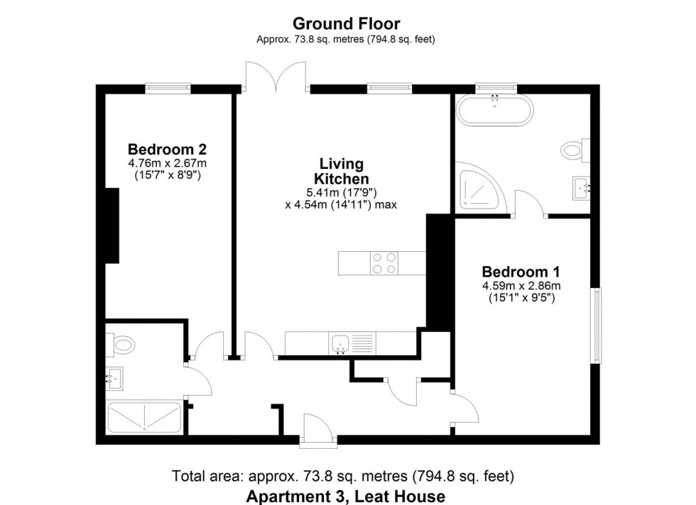Floorplan for Apartment 3, Welham Road, Norton, Malton,YO17 9DS