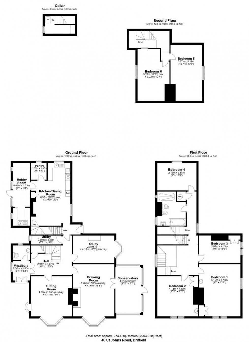 Floorplan for 46 St. Johns Road, Driffield, East Yorkshire, YO25 6RS